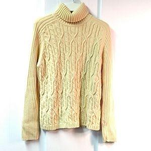 Karen Scott Cotton Cable Knit Turtleneck Sweater L